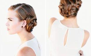 Свадебные прически на бок на средние волосы, прическа колосок, заплетенный сбоку