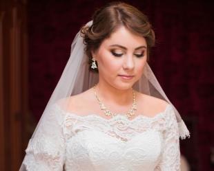 Свадебный макияж для голубых глаз и русых волос, свадебный макияж для круглого лица