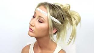 Греческая причёска с повязкой на длинные волосы, праздничная прическа с повязкой