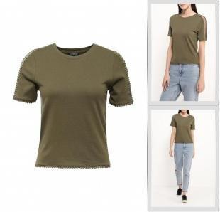 Хаки футболки, футболка topshop, осень-зима 2016/2017
