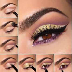 Свадебный макияж в восточном стиле, золотисто-фиолетовый макияж для карих глаз