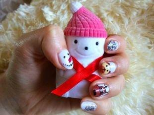 Простейшие рисунки на ногтях, забавный новогодний маникюр