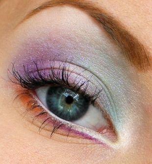 Свадебный макияж с фиолетовыми тенями, сияющий макияж для серых глаз