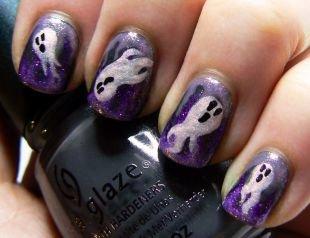 Дизайн ногтей с блестками, маникюр с привидениями