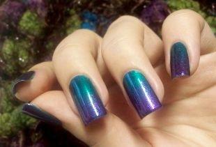 Синий маникюр, изумрудно-фиолетовый градиентный маникюр