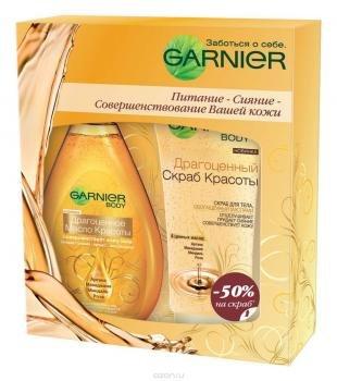 """Скраб Garnier, garnier подарочный набор: масло-спрей для тела """"ultimate beauty. драгоценное масло красоты"""", 150 мл + скраб для тела """"драгоценный скраб красоты"""", питающий, 200 мл"""