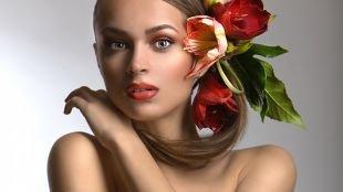 Макияж в коричневых тонах, макияж для серых глаз и темно-русых волос