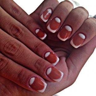Дизайн ногтей френч, шеллак двойной натуральный френч