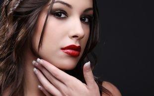 Свадебный макияж с красной помадой, красивый летний макияж