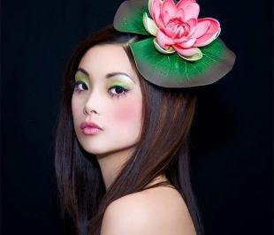 Татуаж бровей, экзотичный японский макияж зелеными тенями