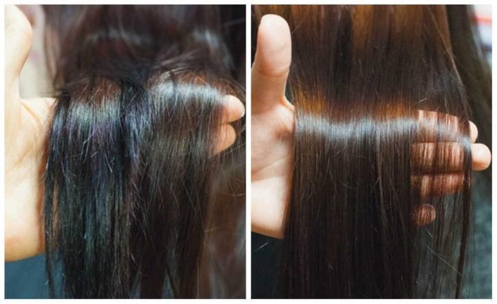 Полировка волос - фото до и после