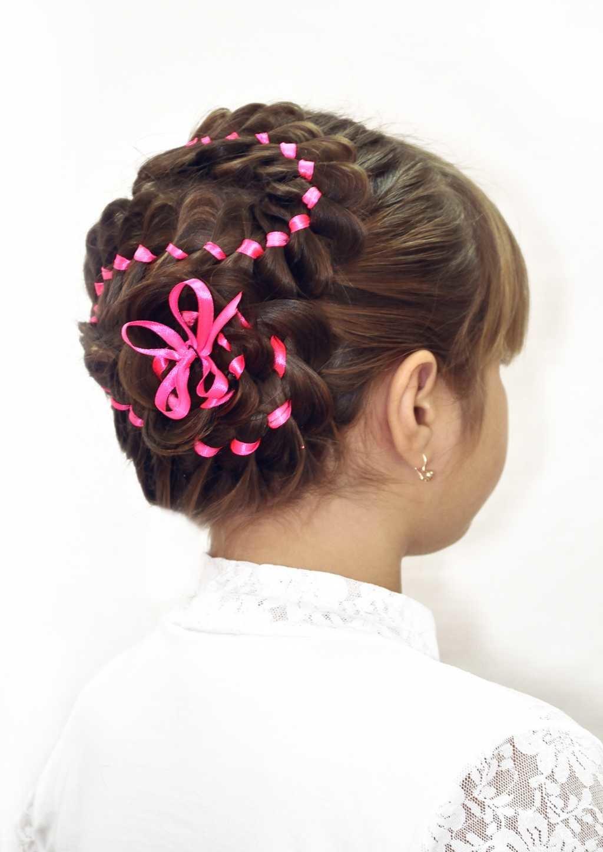Прически из лент бантов для волос