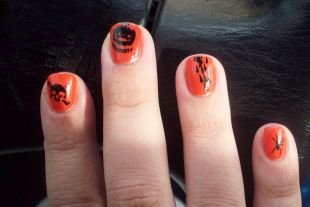 Рисунки на маленьких ногтях, оранжевый маникюр на хэллоуин