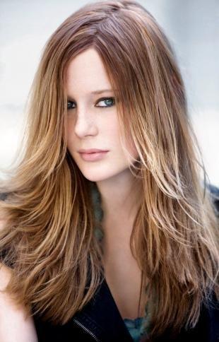 """Цвет волос шоколадный блондин на длинные волосы, стрижка """"лесенка"""" на длинные волосы"""