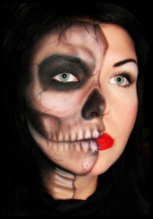 Легкий макияж на хэллоуин, скелет на хэллоуин - страшный макияж