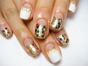 Дизайн ногтей с блестками, яркий лунный маникюр