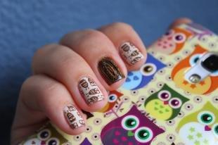 Рисунки совы на ногтях, модный маникюр с совами
