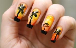 Черный французский маникюр, оранжевый маникюр с пальмами