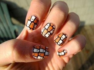 Рисунки на ногтях иголкой, молодежный маникюр на морскую тематику