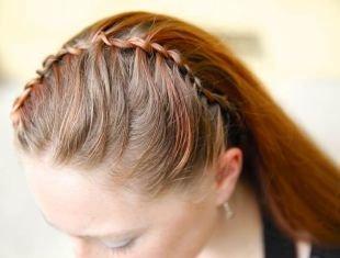 """Светло каштановый цвет волос, прическа с плетением """"водопад"""""""