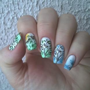 Рисунки с листьями на ногтях, летние идеи дизайна ногтей
