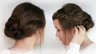 Темно каштановый цвет волос, простая прическа с пучком и косой