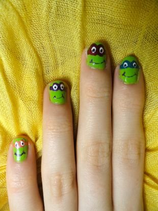 """Рисунки на маленьких ногтях, мультяшный маникюр """"черепашки-ниндзя"""" на коротких ногтях"""