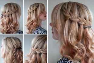 Прически с плетением на выпускной на средние волосы, прическа водопад пошагово
