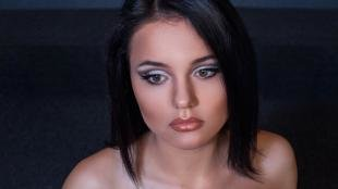 Свадебный макияж для круглого лица, вечерний макияж для черных волос