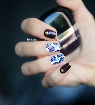 Рисунки на маленьких ногтях, оригинальный маникюр с цветами