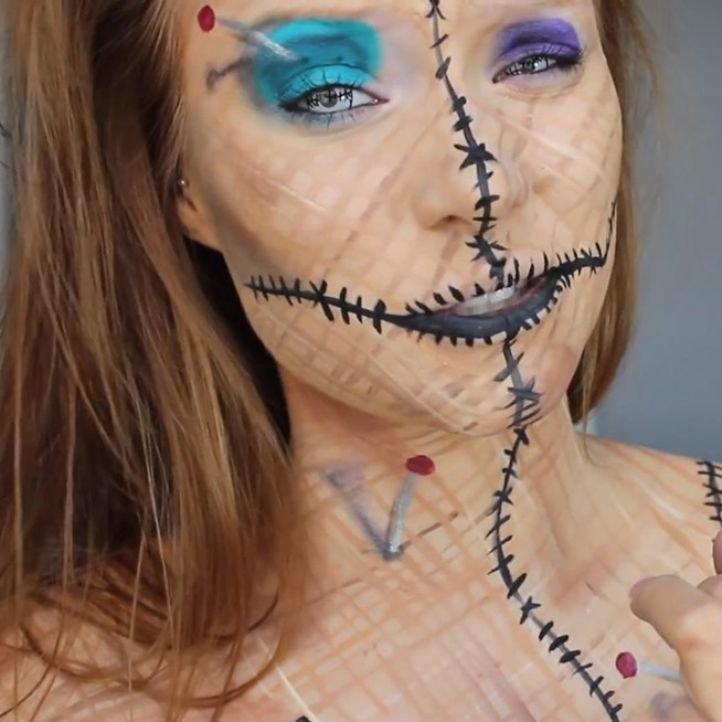 Макияж куклы Вуду на Хэллоуин