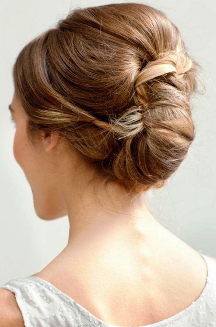 Прически на средние волосы - французская ракушка